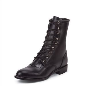 Justin Black Leather Combat Roper Boots With Kilt